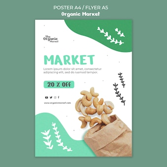 Biologisch voedsel poster sjabloon