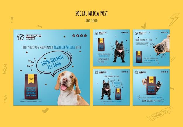 Biologisch voedsel voor huisdieren op sociale media