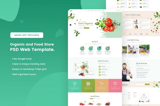 Biologische en voedselwinkel websjabloon