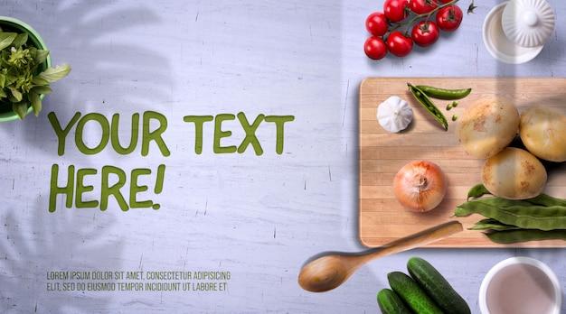 Biologische groenten en keramische kommen op lichte mockup