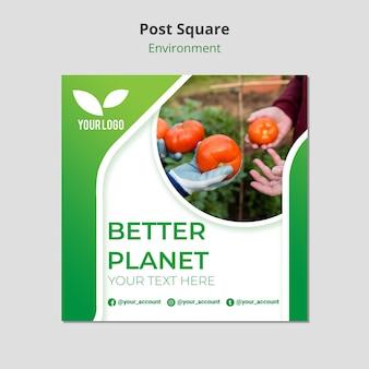 Biologische tomaten post vierkante sjabloon
