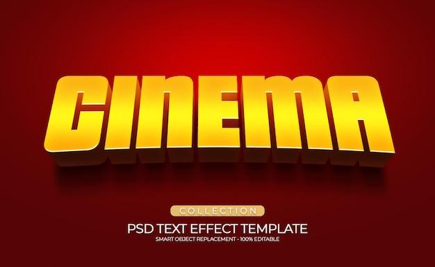Bioscoop gouden 3d-teksteffect aangepaste sjabloon met rode loper achtergrond