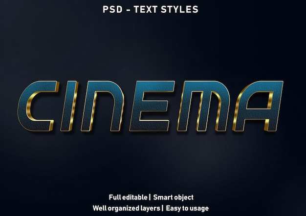 Bioscoop teksteffecten stijl bewerkbare psd