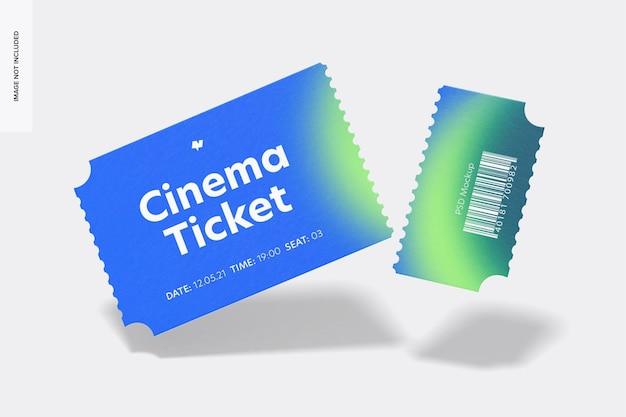 Bioscoopkaartje mockup, falling Premium Psd