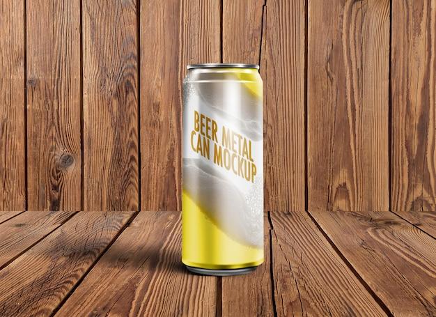 Birra in metallo può mockup