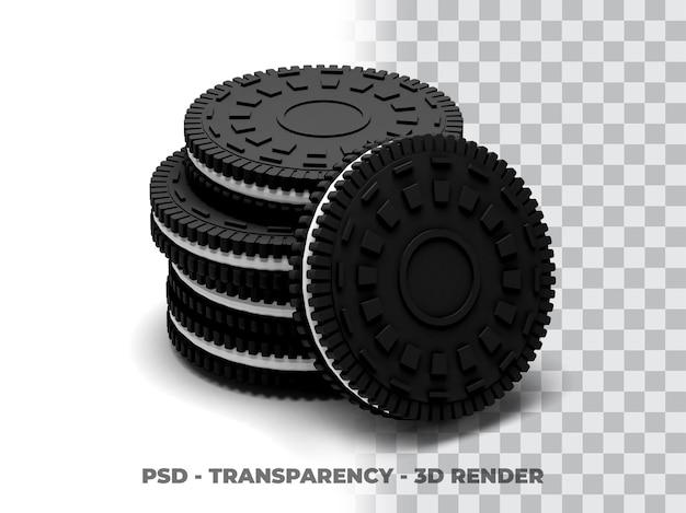 Biscuit oreo cookies 3d render met transparantie achtergrond