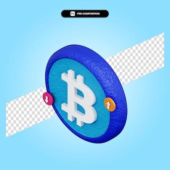 Bitcoin teken 3d render illustratie geïsoleerd