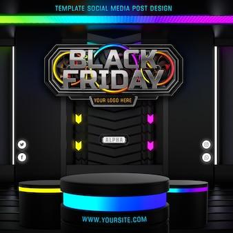 Black friday 3d logo sjabloon social media post ontwerp