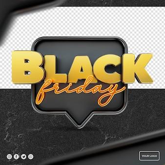 Black friday 3d-logo voor compositie sociale media