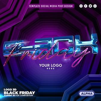 Black friday 3d-logo voor samenstelling