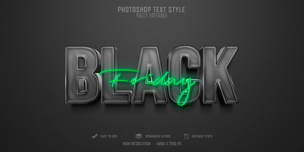 Black friday 3d-tekststijleffect Premium Psd