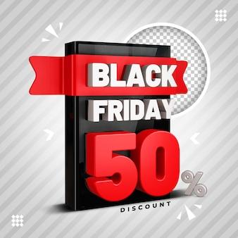 Black friday 50 procent 3d-ontwerp psd