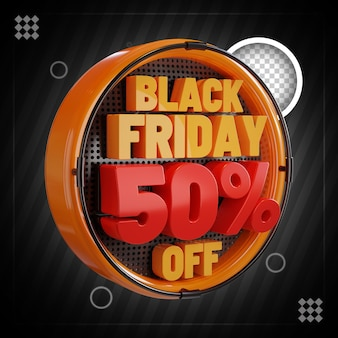 Black friday 50 procent korting op 3d composition square-sjabloon