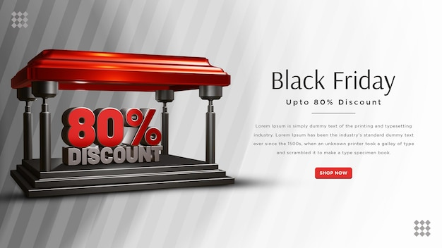 Black friday 80 procent korting bannerontwerp