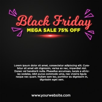 Black friday banner mega sale in neon style text effect
