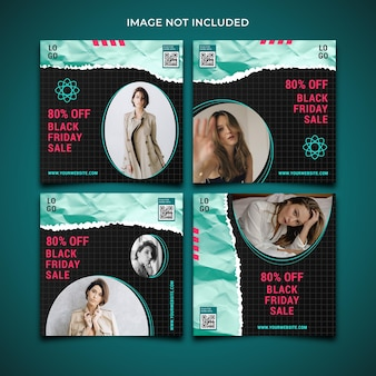 Black friday fashion sale social media post banner template collection