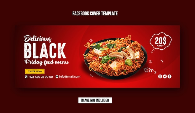 Black friday food facebook cover design template