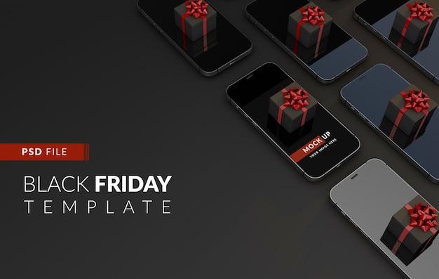Black friday koopt online vanaf uw smartphone een mockup-sjabloon