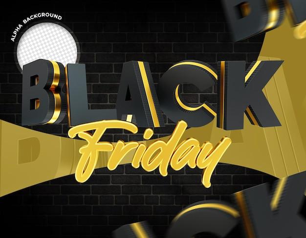 Black friday logo 3d para redes sociales de composición
