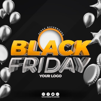 Black friday-logo 3d voor compositie