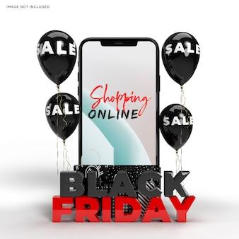 Black friday-model met smartphone