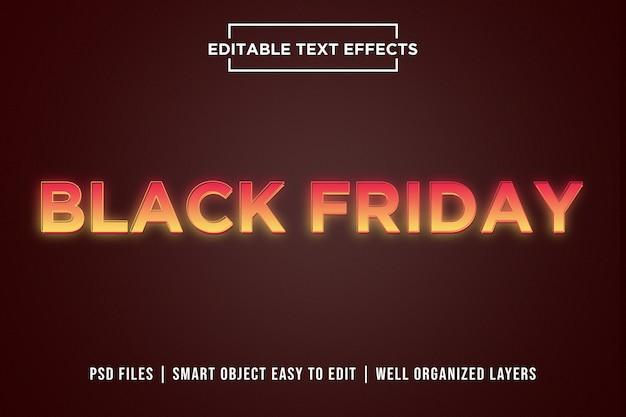 Black friday orange gradient efectos de texto de neón
