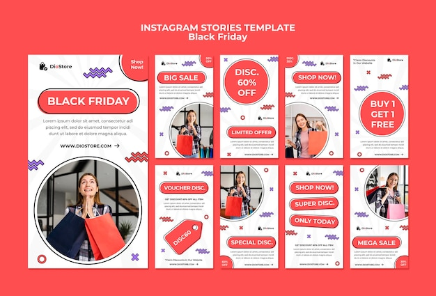 Black friday-pakket met sociale media-verhalen