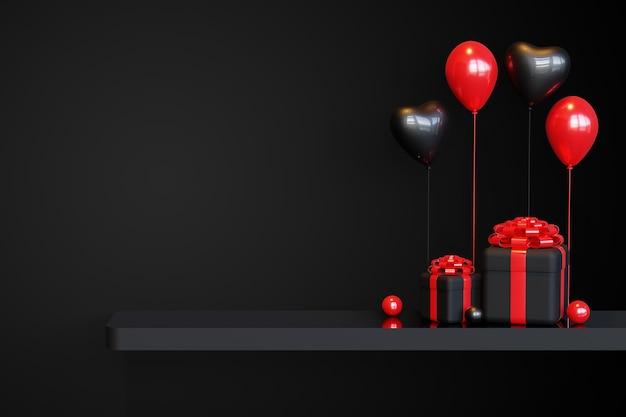 Black friday-podiumsjabloon met 3d-geschenkdoos en liefdesballon