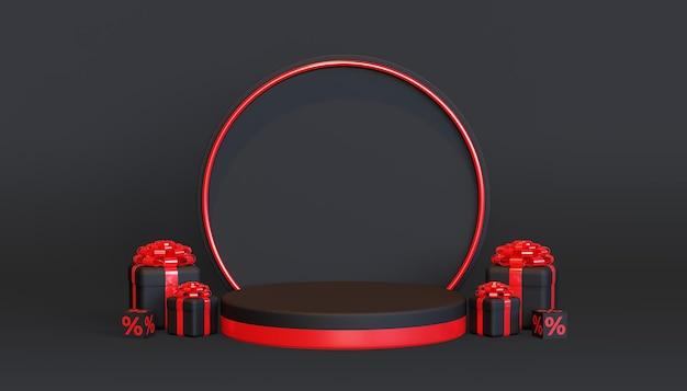 Black friday-podiumsjabloon met 3d-geschenkdoos