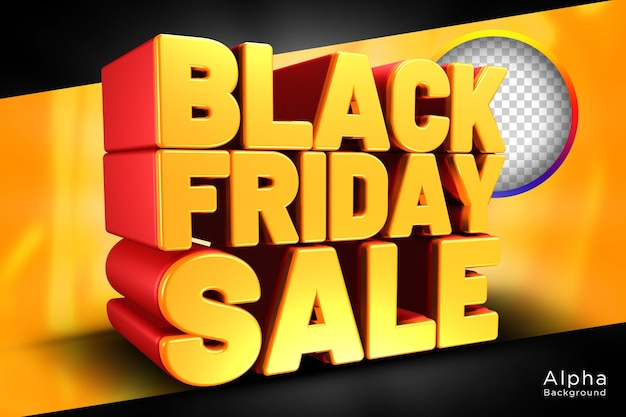 Black friday sale 3d-tekstontwerp transparante achtergrond psd-sjabloon