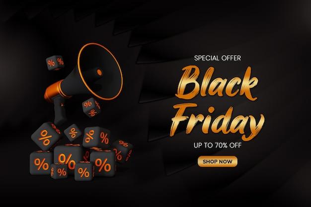 Black friday sale sosial media post en webbannersjabloon met 3d-megafoon