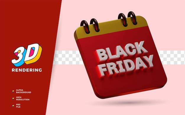 Black friday shopping dag korting flash verkoop festival 3d render object illustratie