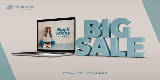Black friday shopping online big sale 3d design mockup
