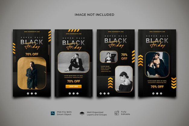 Black friday social media instagram story post banner template collection
