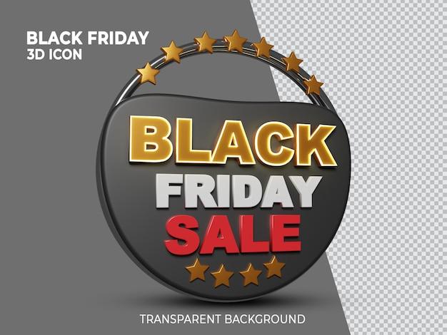 Black friday-superverkoop 3d teruggegeven geïsoleerd pictogram