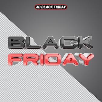 Black friday tekst 3d rendering