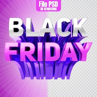 Black friday-tekst 3d-rendering
