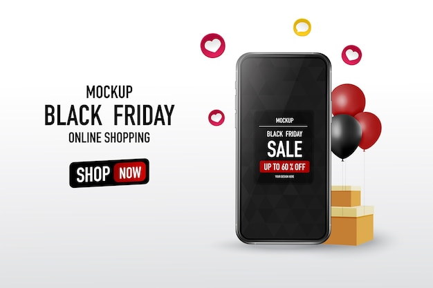 Black friday-tekst met mock-up smartphone