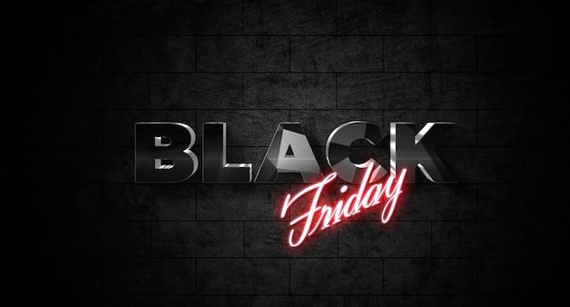 Black friday-tekststijleffectsjabloon