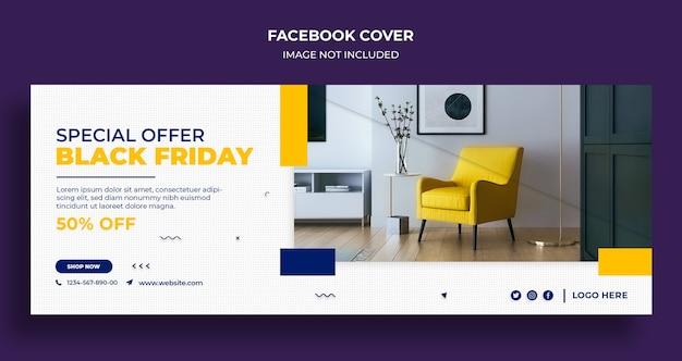 Black friday-verkoop facebook-tijdlijndekking en webbannersjabloon