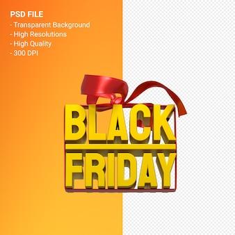 Black friday-verkoop het 3d ontwerpweergave voor verkoopbevordering met geïsoleerde boog en lint