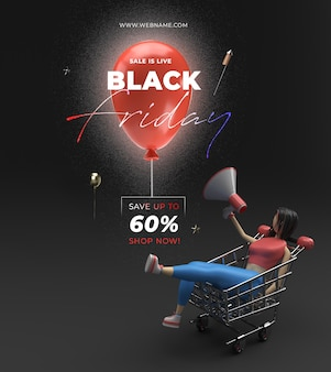Black friday verkoop sjabloon voor spandoek 3d-rendering.