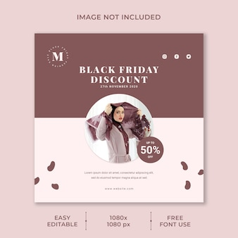Black friday-verkoop social media-sjabloon minimalistisch concept