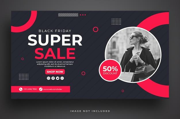 Black friday verkoop websjabloon voor spandoek