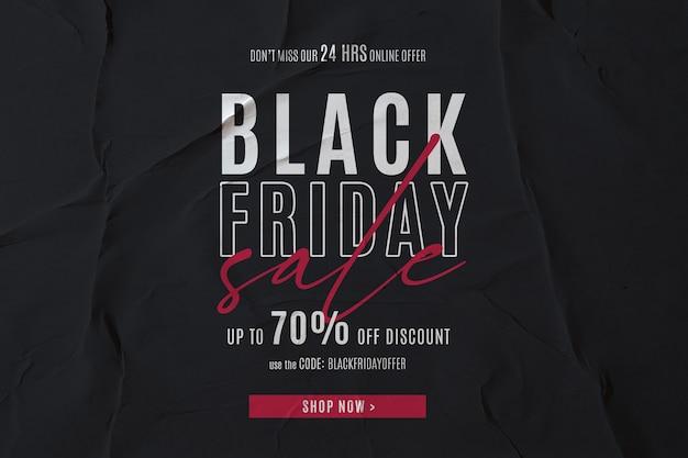 Black friday-verkoopbanner op gelijmde document achtergrond