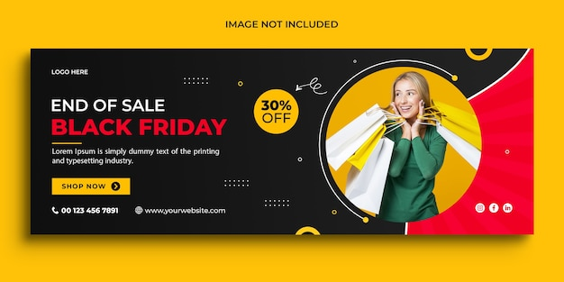 Black friday-verkoopbanner promotionele facebook omslagsjabloon voor spandoek