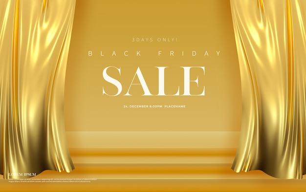 Black friday-verkoopbannersjabloon met luxe gouden zijdefluwelen gordijnen.
