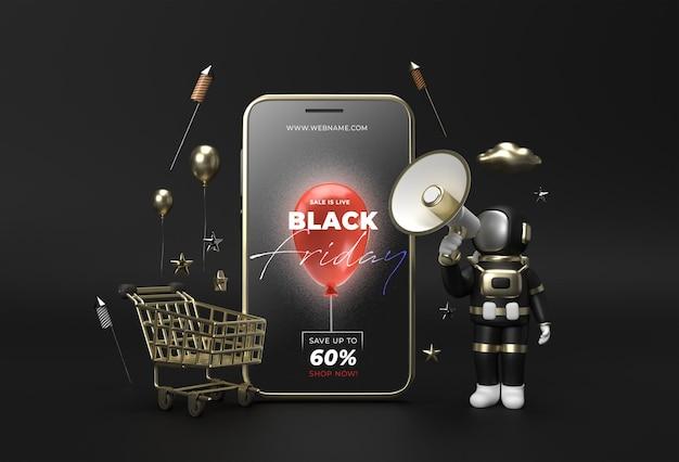 Black friday-verkoopbannersjabloon mobiel model.