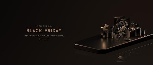 Black friday-verkoopmodel in 3d-rendering