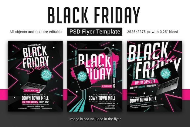 Black friday-verkoopsjabloon folder